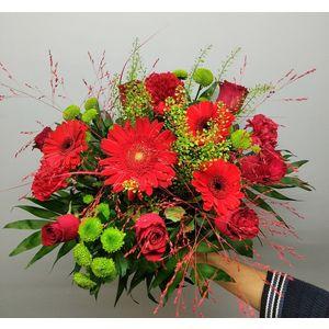 Bouquet tons rouge et vert