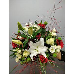 Bouquet tons rouge et blanc