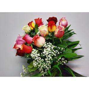 Bouquet de roses multicolores